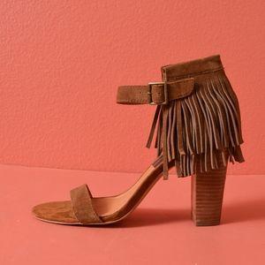 Dolce Vita Nancy Leather Brown Fringe Sandals 9